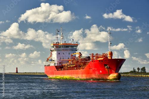 Plakat Mały tankowiec wchodzić do port, Gdański, Polska