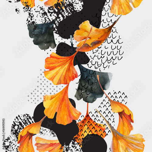 Autocollant pour porte Empreintes Graphiques Drawing of ginkgo leaves, ink doodle, grunge, water color paper textures.