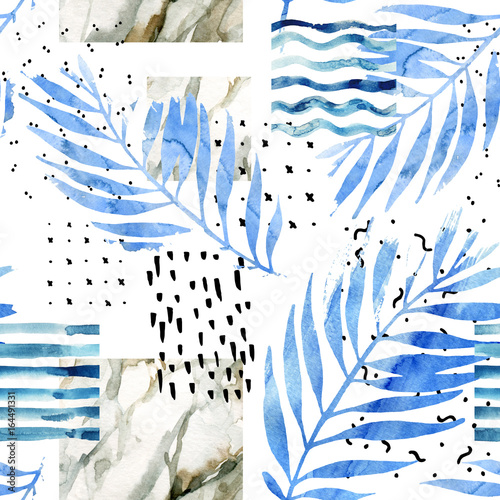 Recess Fitting Graphic Prints Abstract collage with watercolor tropical leaves, marbling paper texture, hand drawn minimalistic elements.