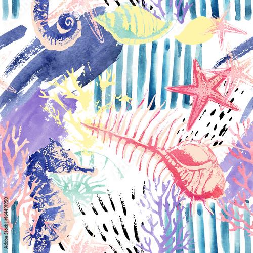 kreatywny-streszczenie-akwarela-morskich-wzor