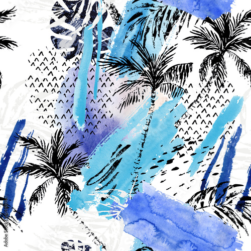 Poster Graphic Prints Abstract watercolor summer seamless pattern.