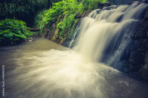 Obrazy na płótnie Canvas Waterfall in Wierchomla, Beskid Sadecki mountain range in Polish Carpathian Mountains