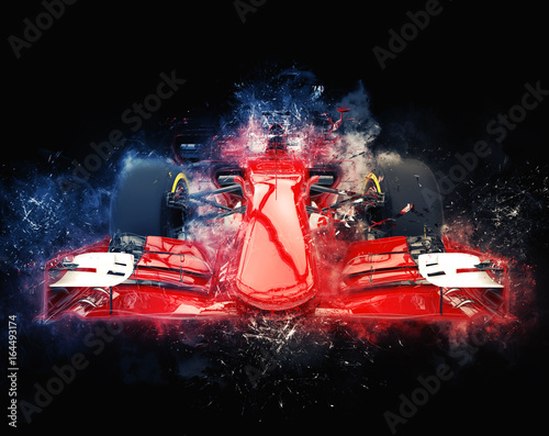 Fotografija  Red formula one car - modern trash style illustration