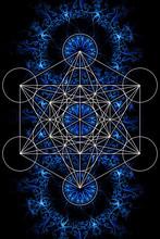 Merkaba And Mandala On Ablack Background. Sacred Geometry.