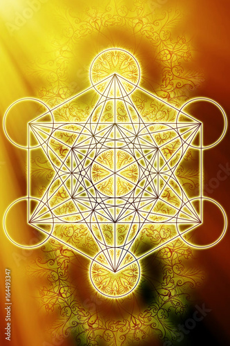 Fototapeta Merkaba and mandala on abstract color background