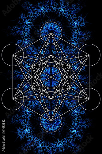 Fototapeta Merkaba and mandala on ablack background. Sacred geometry.