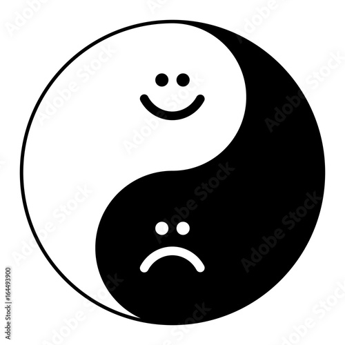 Photo  Yin yang symbol of harmony and balance happy and sad smile