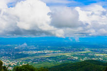 View Point Of Chiangmai Town With Beautiful Clouds, Thailand. This View From Wat Phrathat Doi Suthep Temple