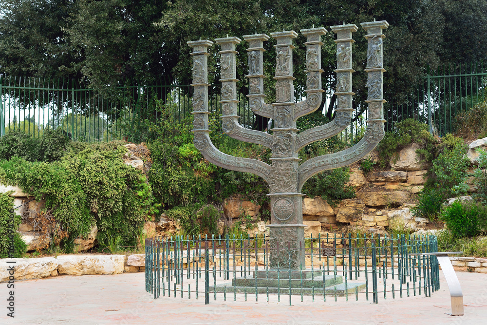Photo  JERUSALEM, ISRAEL - APRIL, 2017: The Knesset's Menorah sculpture, Jerusalem, Isr