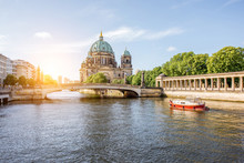 Sunrise View On The Riverside With A National Gallery Building And Cathedral In The Old Town Of Berlin City