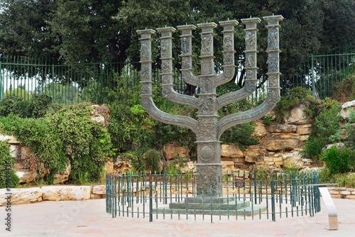 Fényképezés  JERUSALEM, ISRAEL - APRIL, 2017: The Knesset's Menorah sculpture, Jerusalem, Isr
