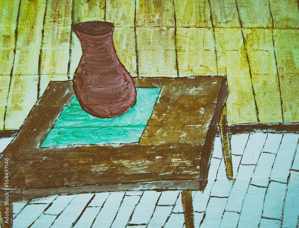 Wooden table and vase on wood panel background