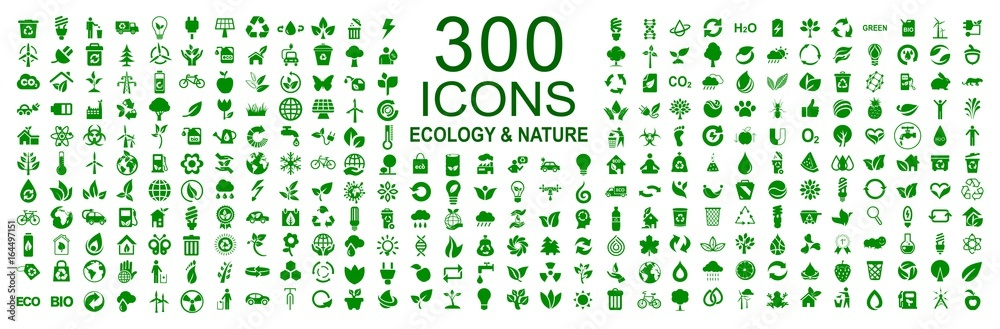 Fototapety, obrazy: Set of 300 ecology icons – stock vector