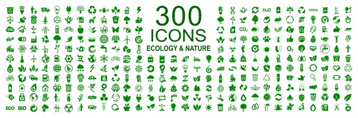 Set of 300 ecology icons – stock vector