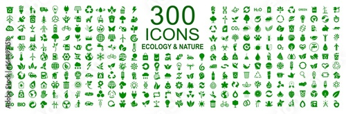 Photo Set of 300 ecology icons – stock vector