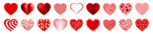 Set Of Eighteen Hearts - Vector