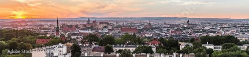 Obrazy na płótnie Canvas Krakow panorama from Krakus Mound, Poland landscape during sunset.