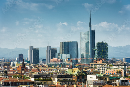 Poster Milan Milan skyline with modern skyscrapers