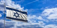 Israel Waving Flag On Blue Sky. 3d Illustration