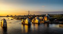 Thames Tidal Barrier At Sunrise