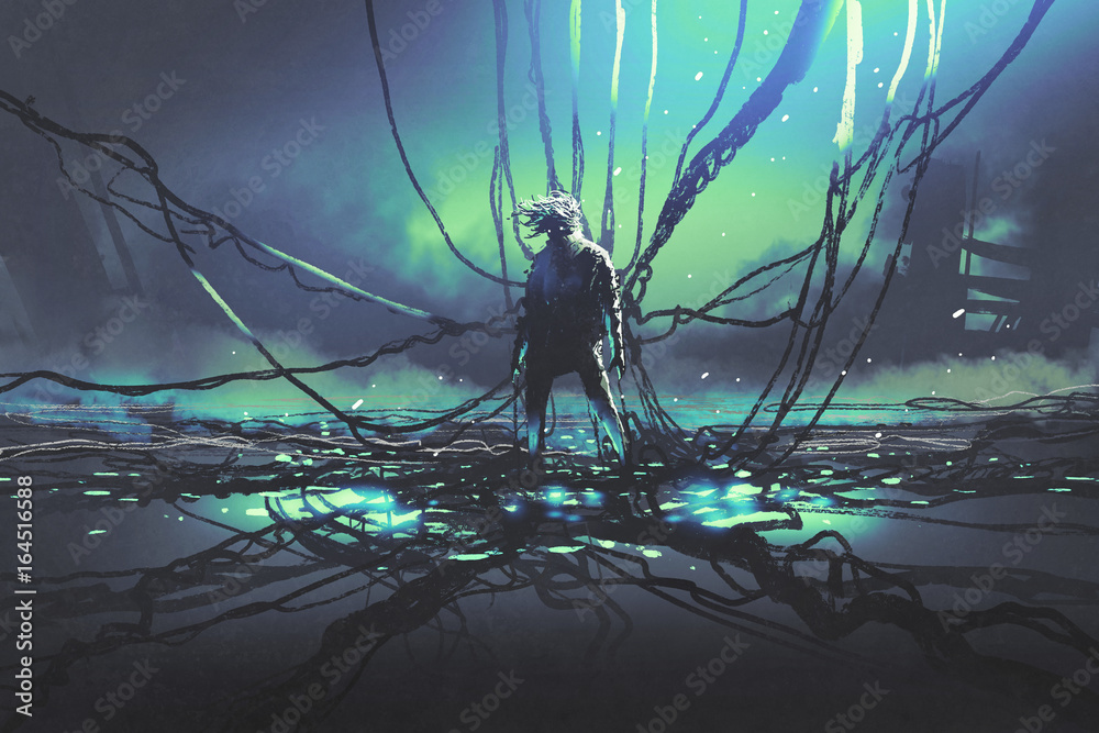 Fototapety, obrazy: scene of futuristic man with many black cables against dark factory, digital art style, illustration painting