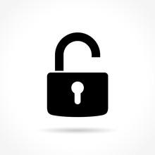 Unlock Padlock On White Backgr...