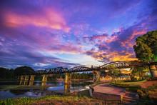 Bridge River Kwai With Sunset ...