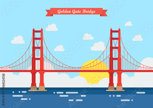 Flat style Golden Gate Bridge Wallpaper Mural
