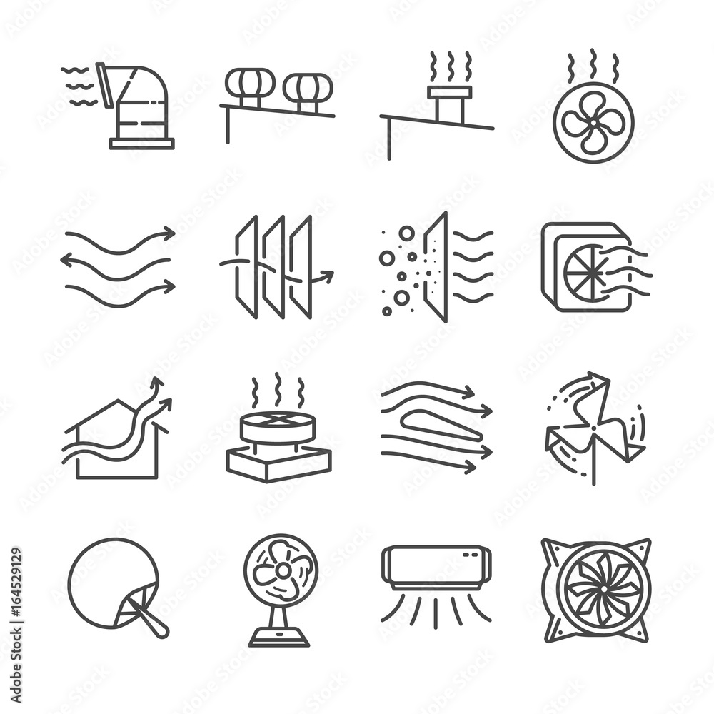 Fototapeta Airflow line icon set. Included the icons as airflow, turbine, fan, air ventilation, Ventilators and more.