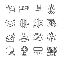 Airflow Line Icon Set. Include...