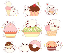 Set Of Cute Pandas With Ice Cr...