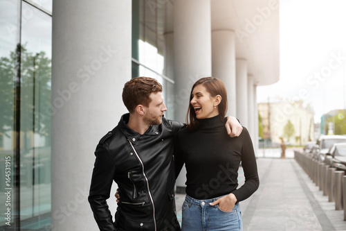 Stylish Confident Young Bearded Male Wearing Black Leather Jacket