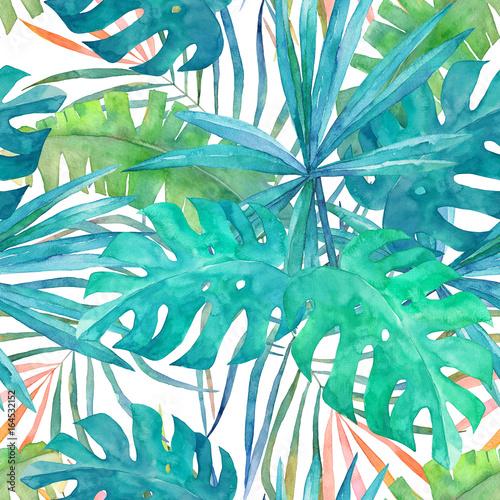 Fototapeta na wymiar Letni wzór w palmy - akwarela