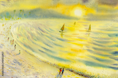 Abstract watercolor seascape  original  painting colorful of sailing holiday - 164532927