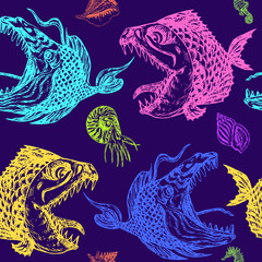 FototapetaPiranhas fishes profile, open mouth with sharp teeth and long tongue, seahorse, nautilus and shells, seamless pattern design, hand drawn doodle, sketch in pop art style, colorful on blue background