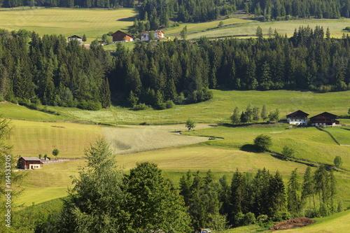Fotobehang Rijstvelden Santa Magdalena village in front of Dolomites Group, Val di Funes, Italy,