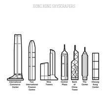 Hong Kong Skyscrapers Line Art...
