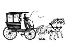 Carriage With Horses Engraving...