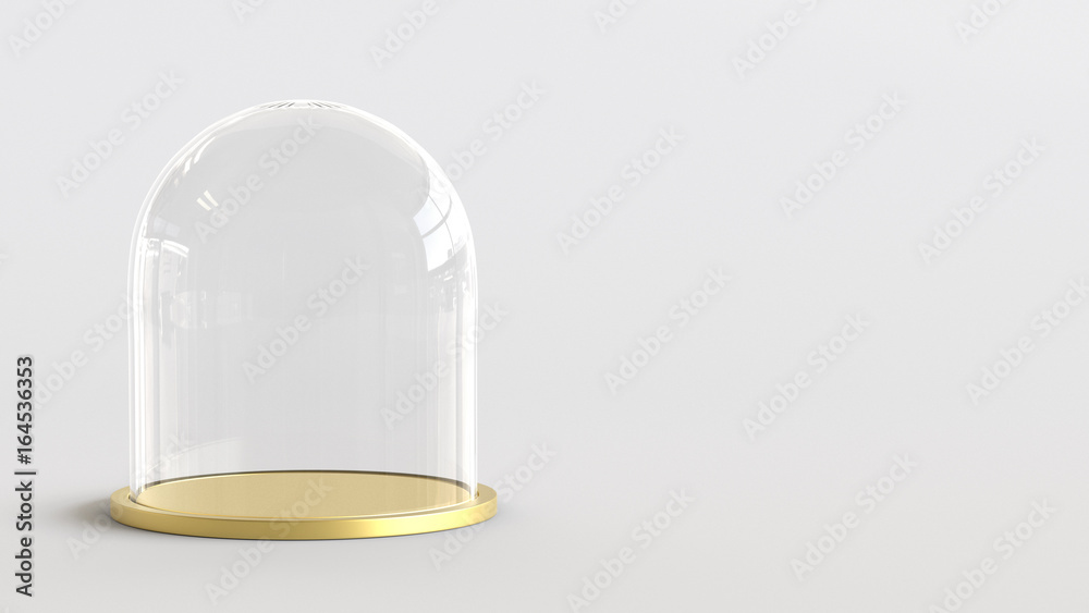 Fototapety, obrazy: Glass dome with golden tray on white background. 3D rendering.