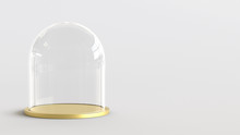 Glass Dome With Golden Tray On...