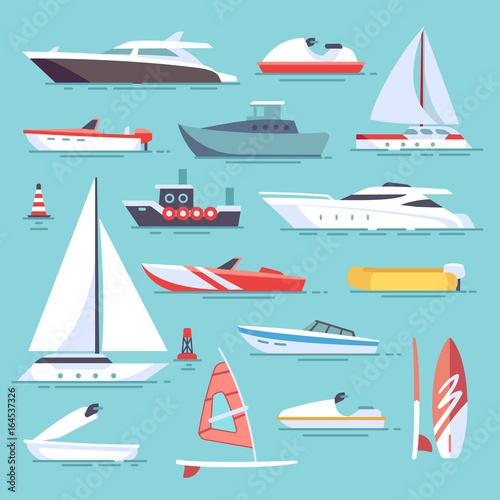 Sea boats and little fishing ships. Sailboats flat vector icons Wall mural