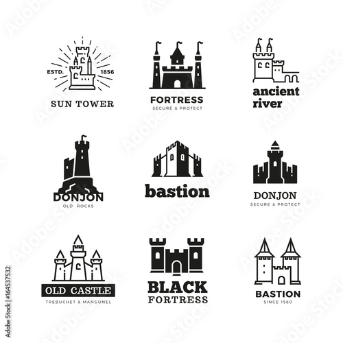 Medieval castle and knight fortress vector ancient royal logo set Fototapeta