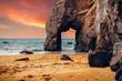 Leinwandbild Motiv Spectacular natural cliffs and stone arch Arche de Port Blanc and beautiful famous coastline, Brittany (Bretagne), France, Europe