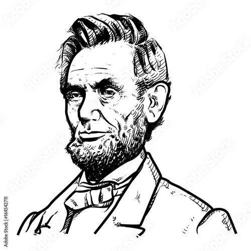 Photo  Abraham Lincoln Vector illustration, Abraham Lincoln Drawing outline, 16th U