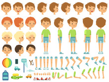 Funny Cartoon Boy Creation Mascot Kit With Children Toys And Different Body Parts