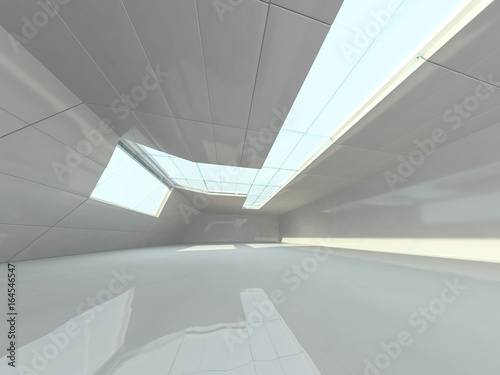 Abstract modern architecture background, empty white open space interior Wallpaper Mural