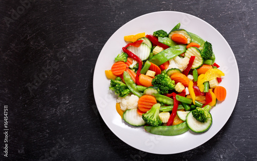 plate of stir fry vegetables, top view