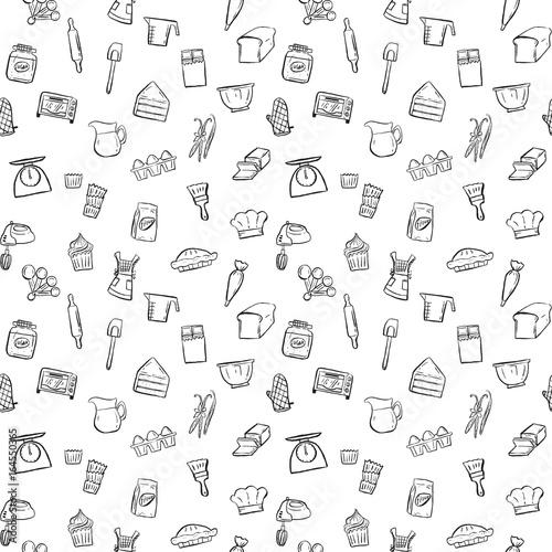 Carta da parati baking tools seamless pattern background set