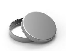 Round Thin Aluminium Container With Lid And Blank Shoe Polish Box Isolated On A White Background. 3D Render Illustration.