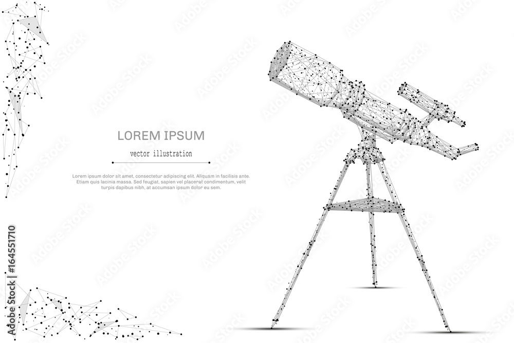 Fototapety, obrazy: Abstract mash line and point telescope on white background with an inscription. Starry sky or space, consisting of stars and the universe. Vector cosmos or space illustration